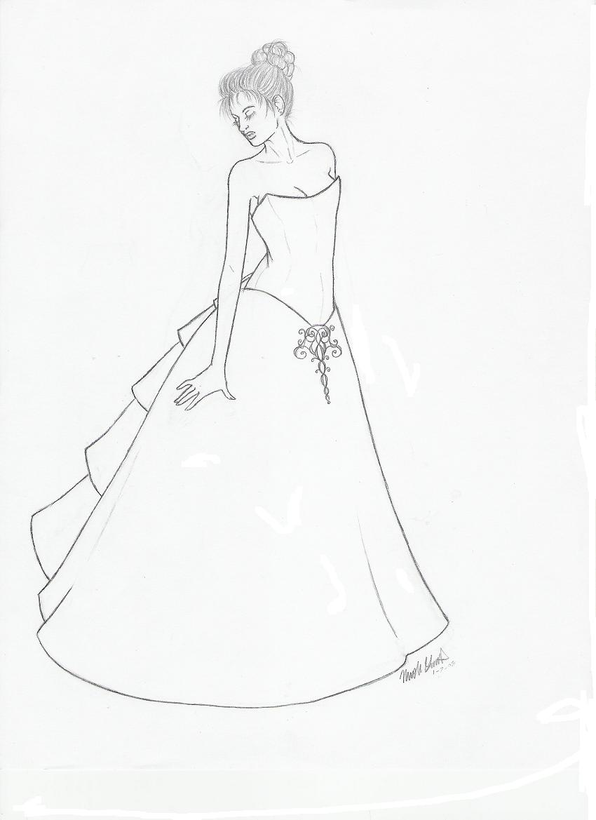 Wedding Dress Line Drawing : The wedding dress by rideaseeker watch traditional art drawings