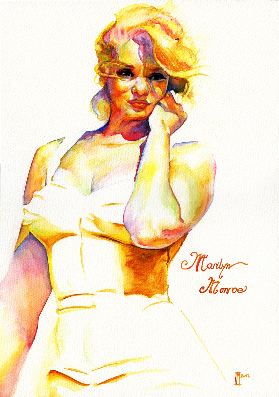 Marilyn Monroe Watercolour by indi1288