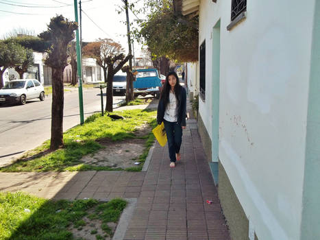 Walking through the streets of the neighborhood.