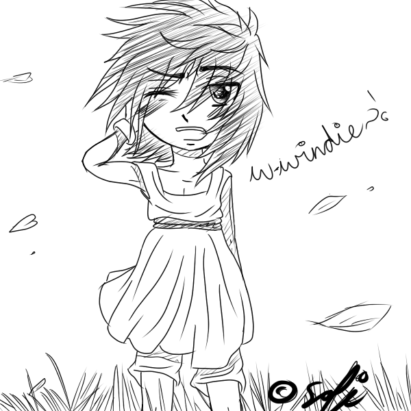 !Windy Day! .:Ao In A Dress??:. ::chibi Attempt:: By