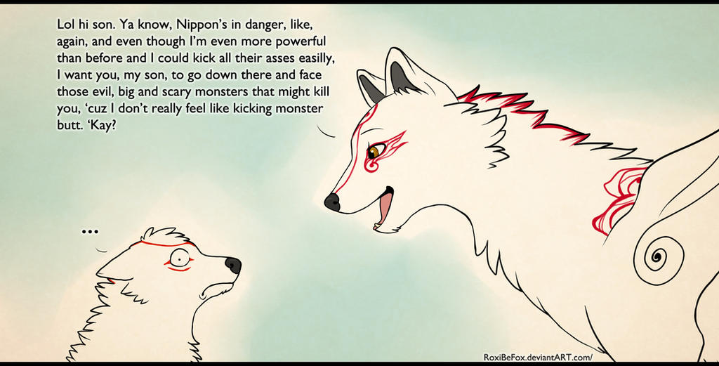 Amaterasu's a terrible mother. by RoxiBeFox on DeviantArt