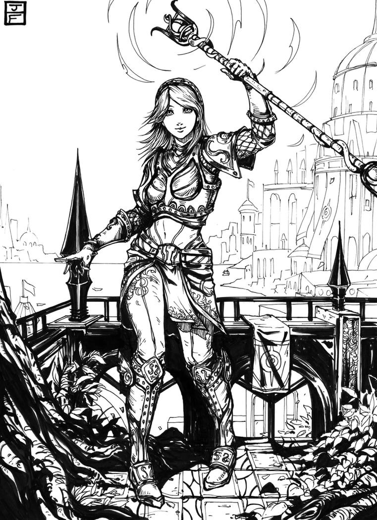 Lux League of Legends Fanart Ink by anireal