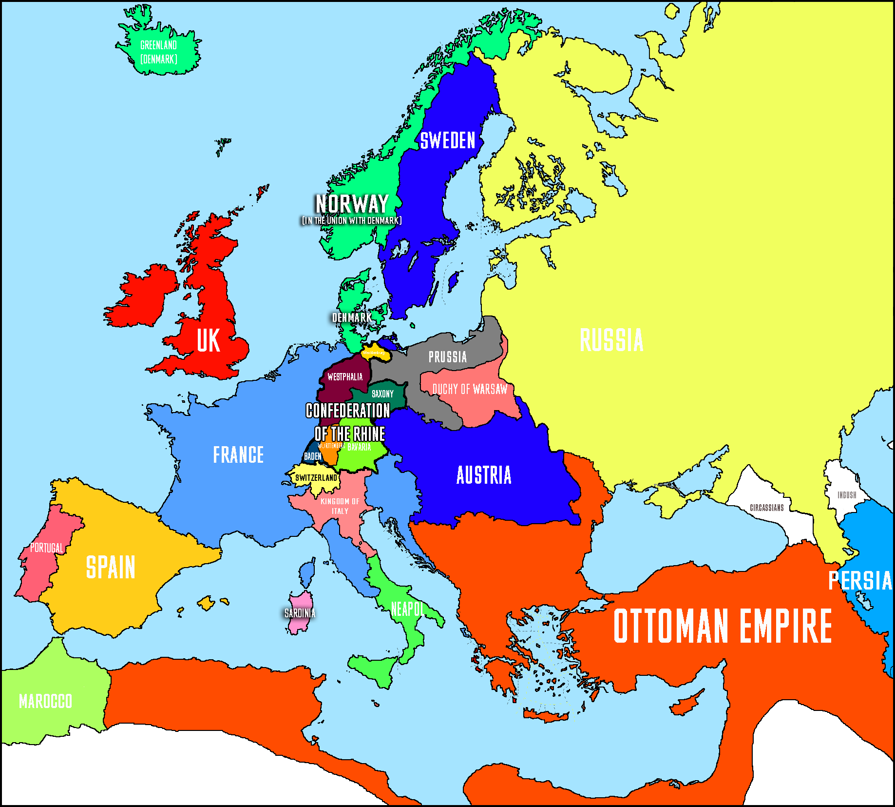 Map Of Europe 1812 Political map of Europe in 1812 by kvlchk on DeviantArt