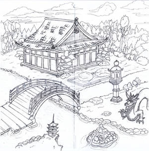 Jardin japones lineart