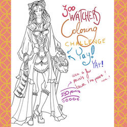 300 Watchers coloring challenge! YAY! by PrivateCoppery