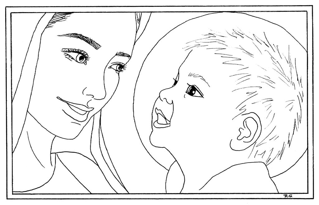 mary and baby jesus coloring page by piesn - Mary Baby Jesus Coloring Page