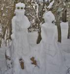 Auron and Lulu Snow Sculpture