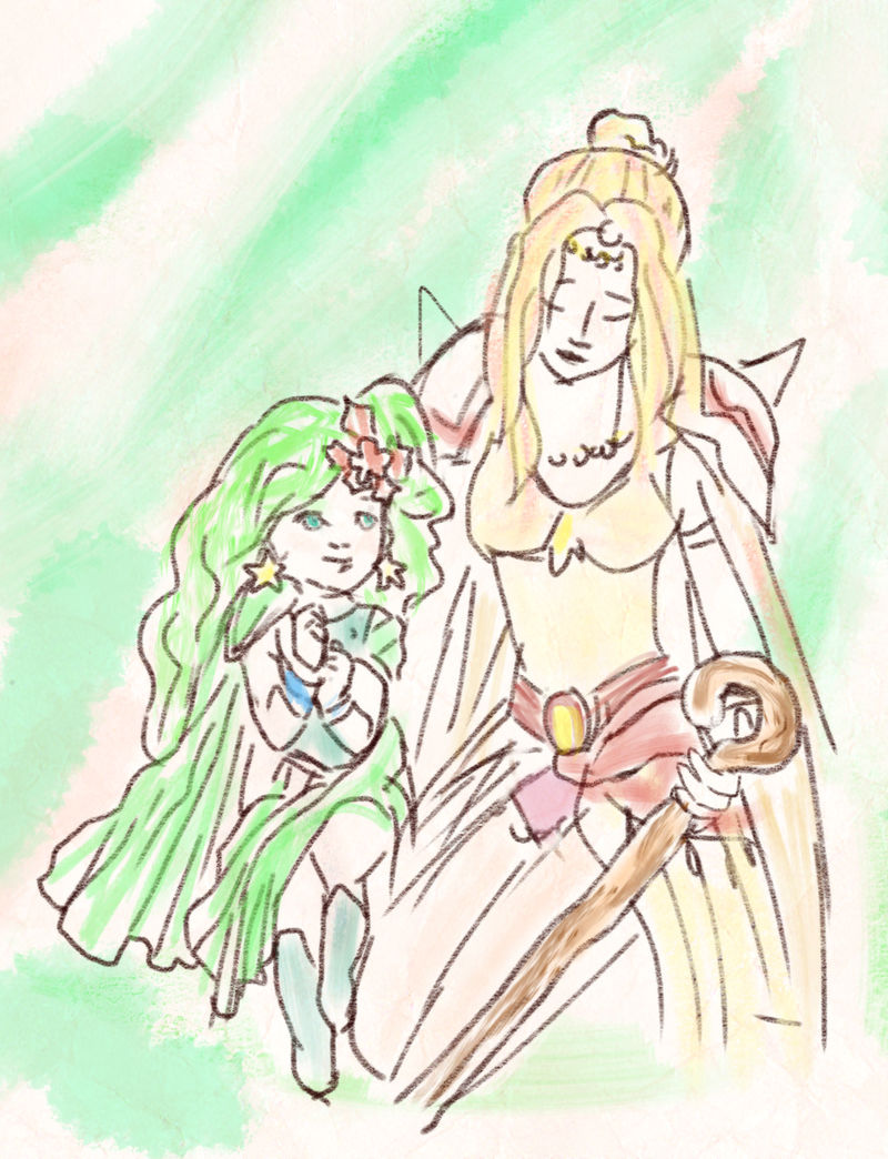 Rydia and Rosa, Final Fantasy IV by auronlu