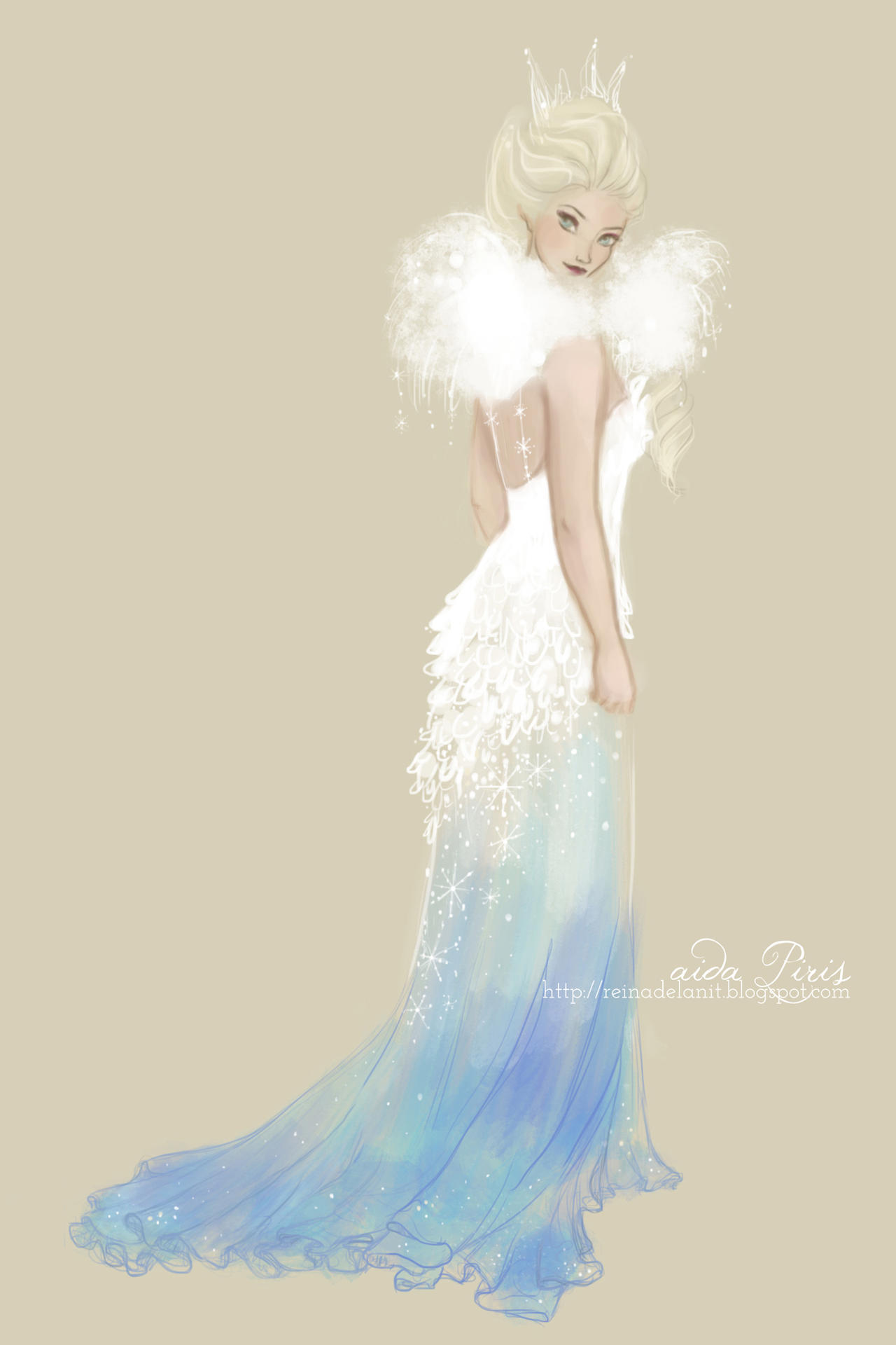 a dress for Elsa by Seleneprincess