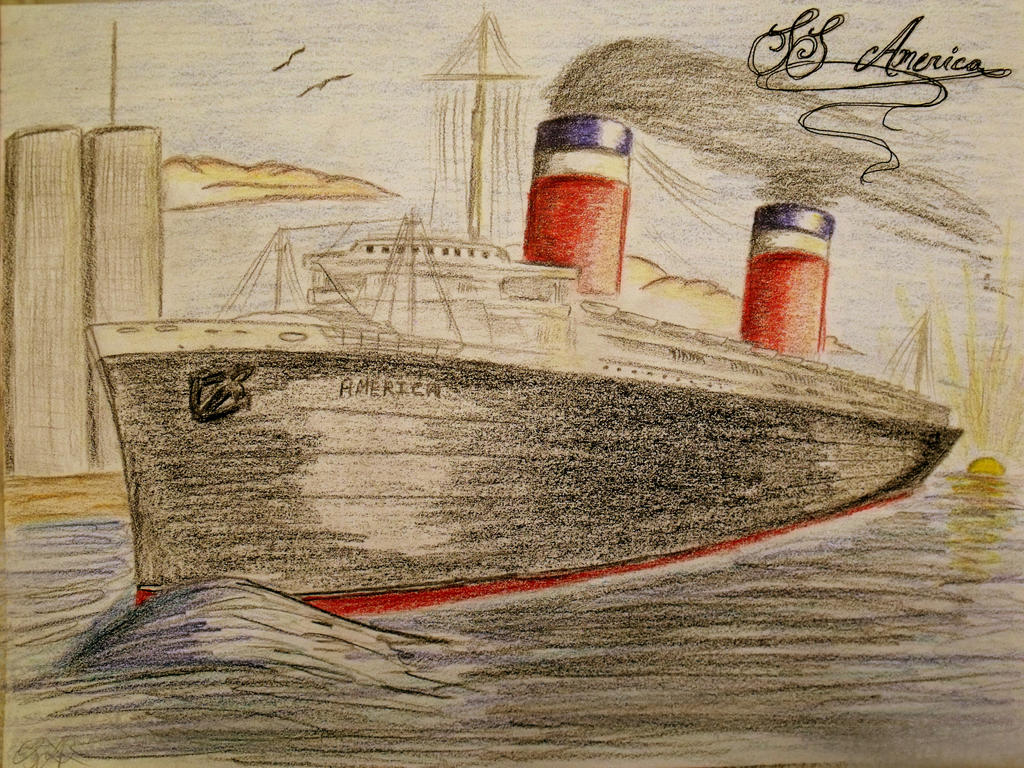 SS America and the World Trade Center- Commission by RMS-OLYMPIC