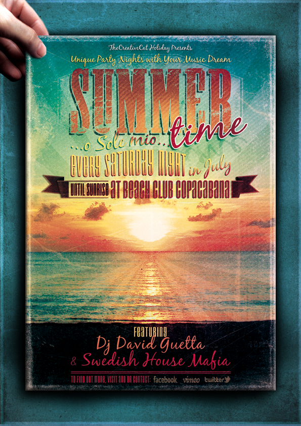 Vintage Summer Poster Template by TheCreativeCatDesign
