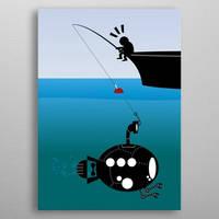 Fishing a submarine!