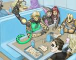 Superheroes in a Cafe by cassjohnson18