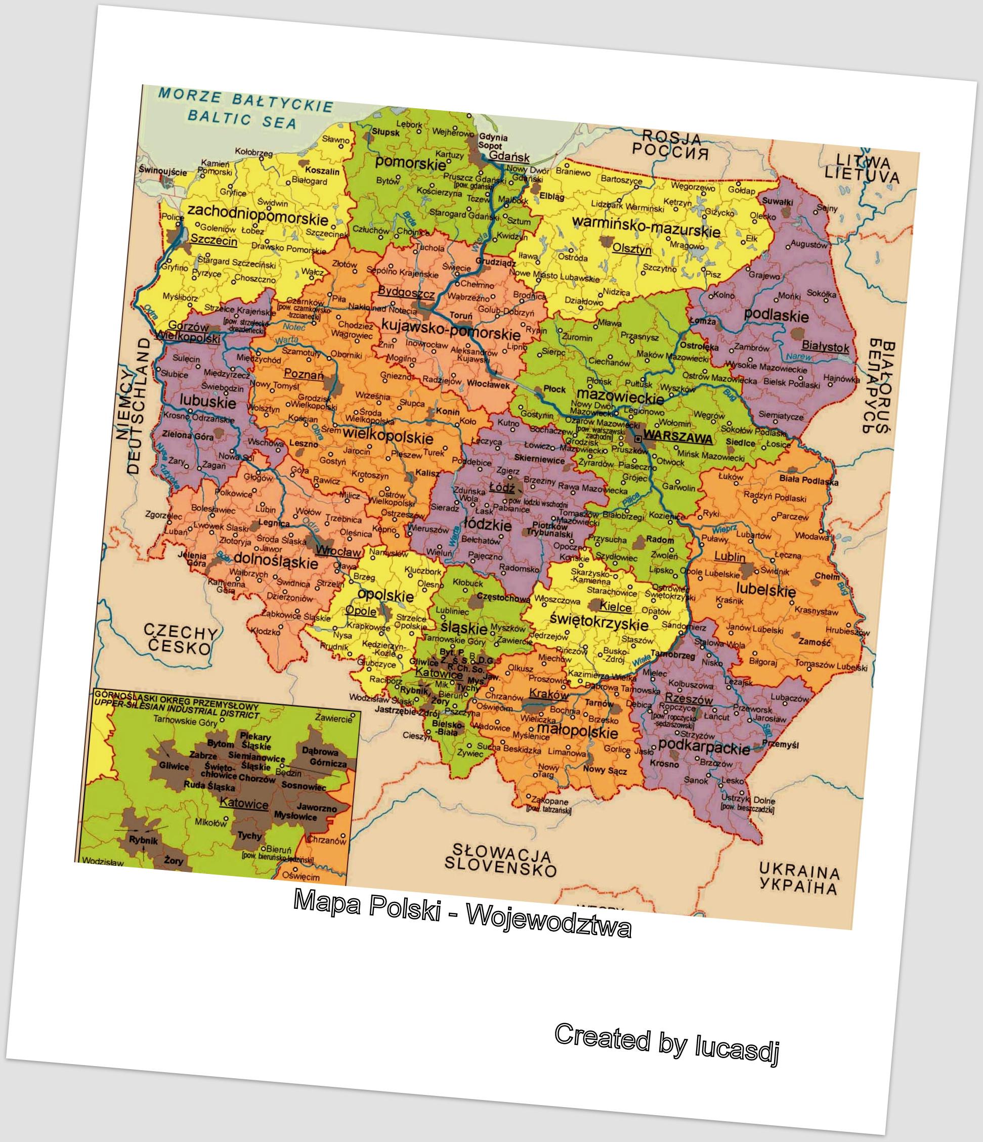 Mapa Polski z podzialem na Wojewodztwa by lucasdj
