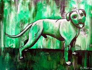 Smiling Pittie- pitbull, original painting