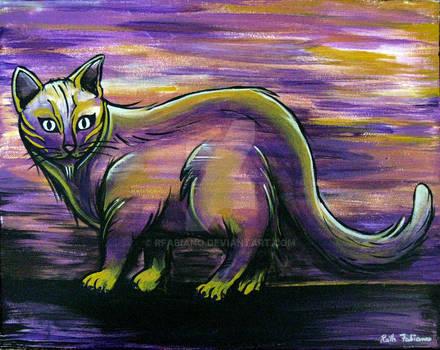 Purple kittie- original painting