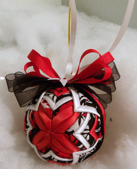Black, Red, and White Cathedral handmade ornament