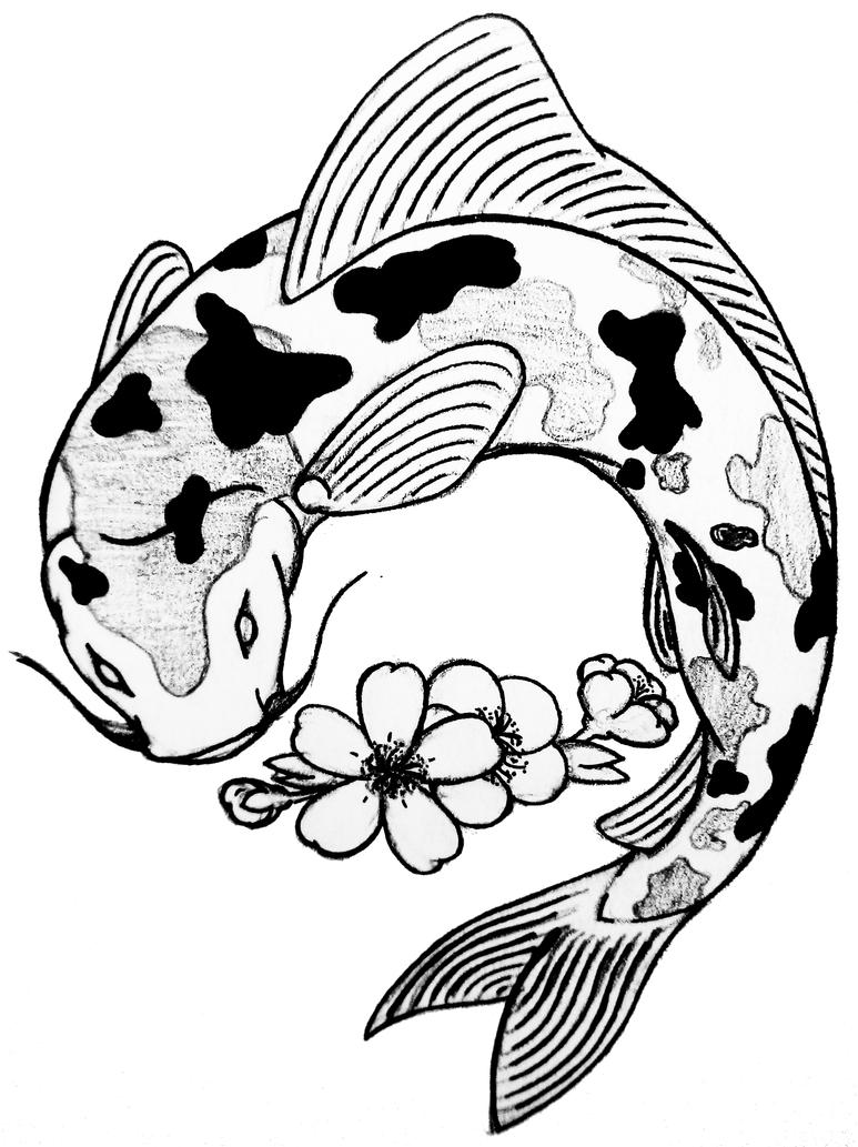 Koi fish by curvy tribal on deviantart for Black and white koi fish