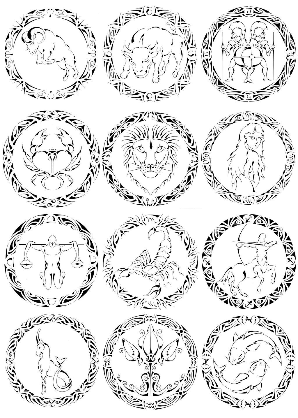 tribal zodiac signs by curvy tribal on deviantart