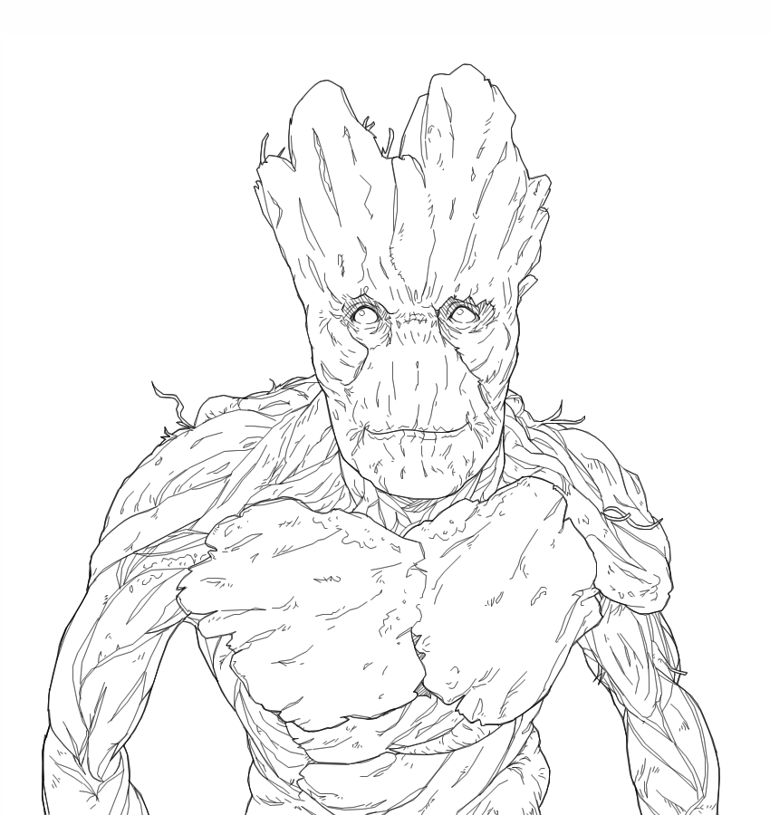 I am groot lineart by b dangerous on deviantart for Groot coloring pages