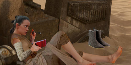 Rey resting barefoot (With Daisy Ridley's feet) by ATonyP