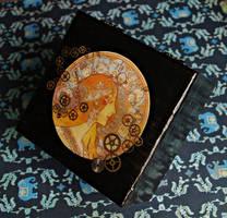 Steampunk box with a lady by srebrnaFH