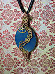 Steampunk blue pendant
