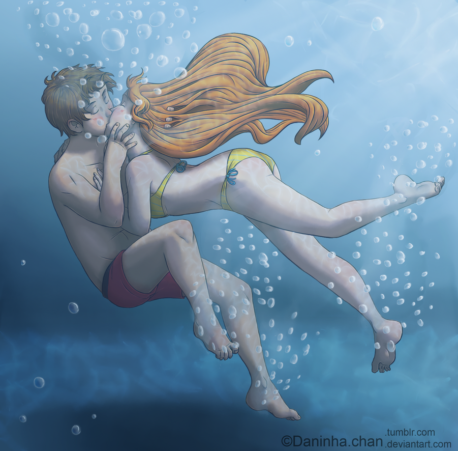 Justicykes underwater kiss by pieces of a rose on deviantart How to draw swimming pool water