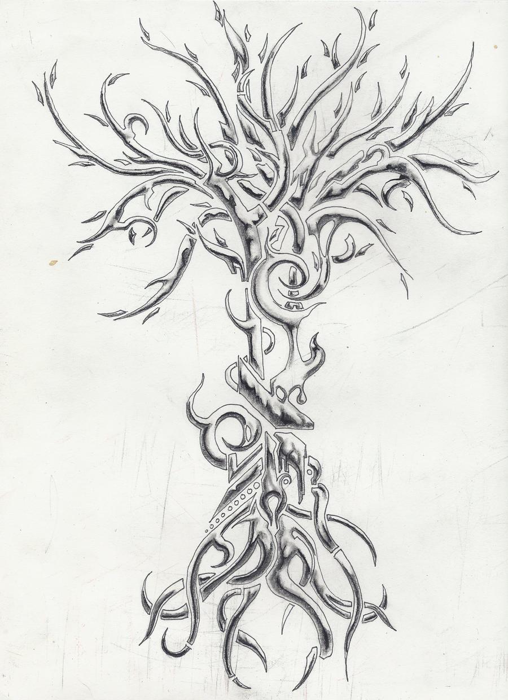 Chrome Tree Tattoo by MassMurdurah