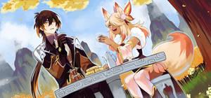 [Cel shade commission] Zhongli and Jiaxin