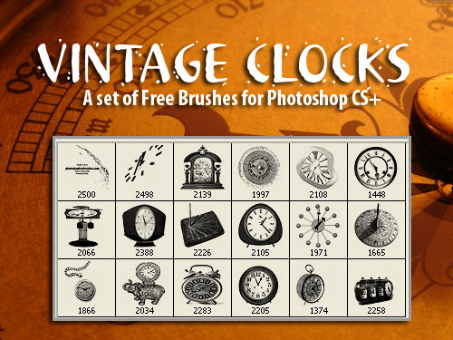 Vintage Clocks-PS Brushes by fiftyfivepixels