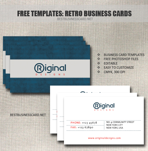 Retro Business Card Template in PSD
