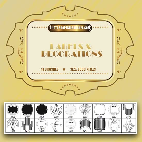 Labels and Ornaments: 18 Free Brushes by fiftyfivepixels