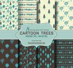 Cartoon Trees Seamless Patterns (Blue/Gray)