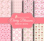 8 Cherry Blossoms Seamless Repeating Patterns