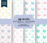 14 Butterfly Patterns in Pastel Colors