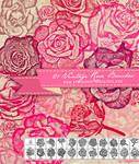 21 Vintage Rose Flower Brushes