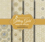 8 Gold Seamless Patterns on Brown Paper Background