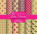 12 Lotus Flower Seamless Patterns on Brown Paper