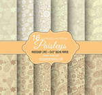 16 Indian Paisley Patterns on Brown Paper Texture