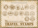 16 Travel Stamps Photoshop Brushes