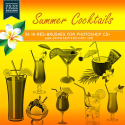 24 High-Res Summer Cocktails Photoshop Brushes