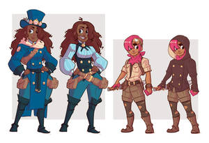 Adelie and Pia character sketches