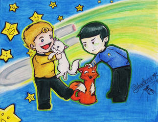 Kirk, Spock, and the kitties by bshadow93