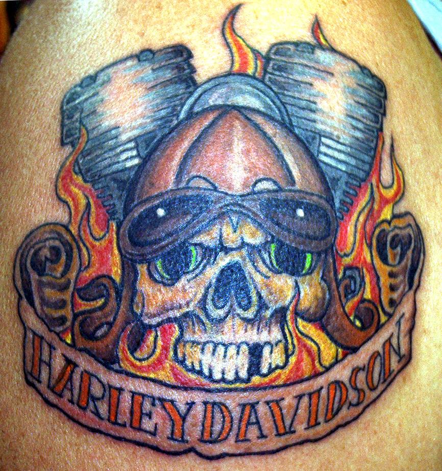 Harley pistons and skull by furious247 on deviantart for Harley skull tattoos