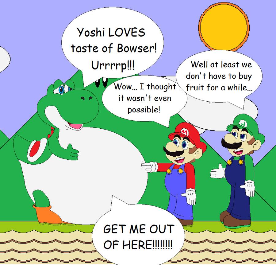 Yoshi ate Bowser by SuperUltraMarioFan