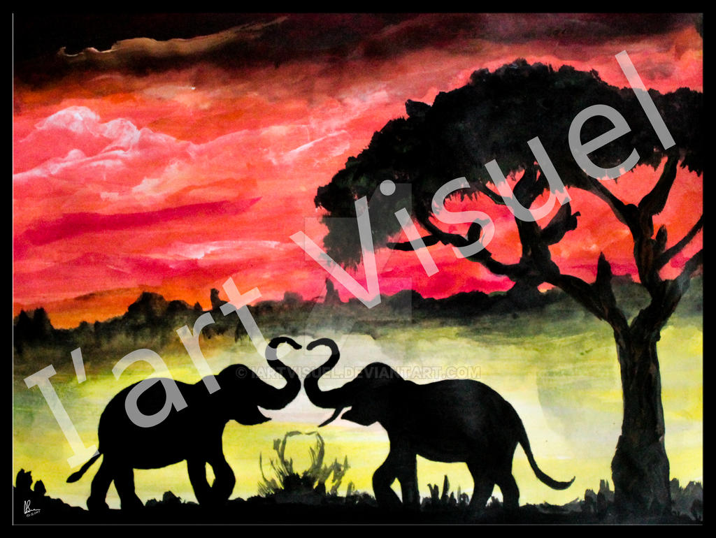 Love in jungle Acrylic painting by Shree Bhat by IartVisuel