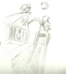 Pencil Work: Grim Night at the Graveyard by IronScorpion