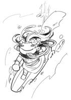 2-4-2020 (1) Poseidon Surfing by kishdoodles