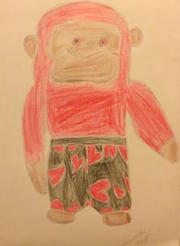 Drawing of a stuffed gorilla.